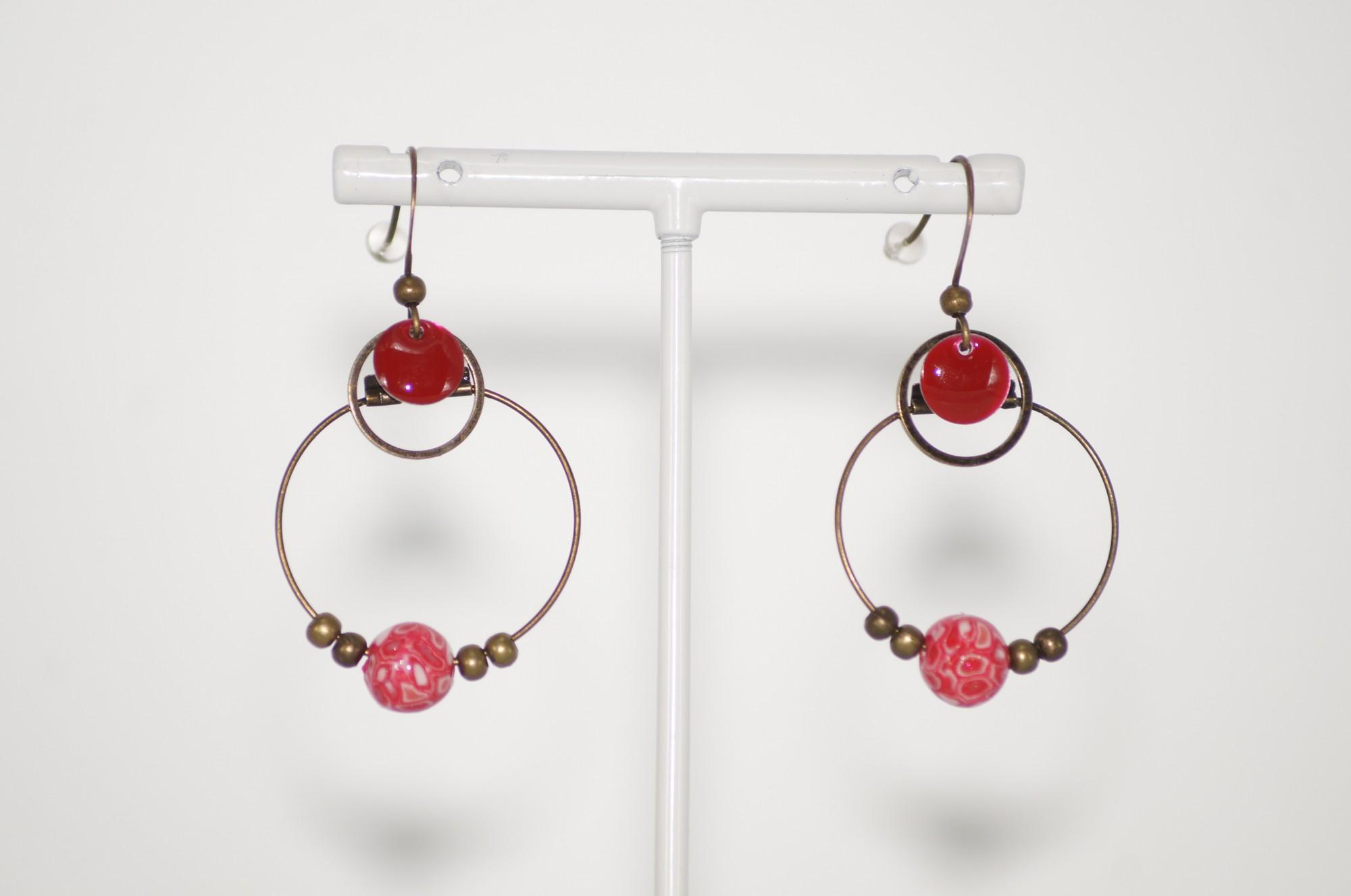 Boucles d\'oreilles créoles originales rouges Elmalao