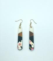 Boucles d\'oreilles Fleuraison en papier japonais Leksart