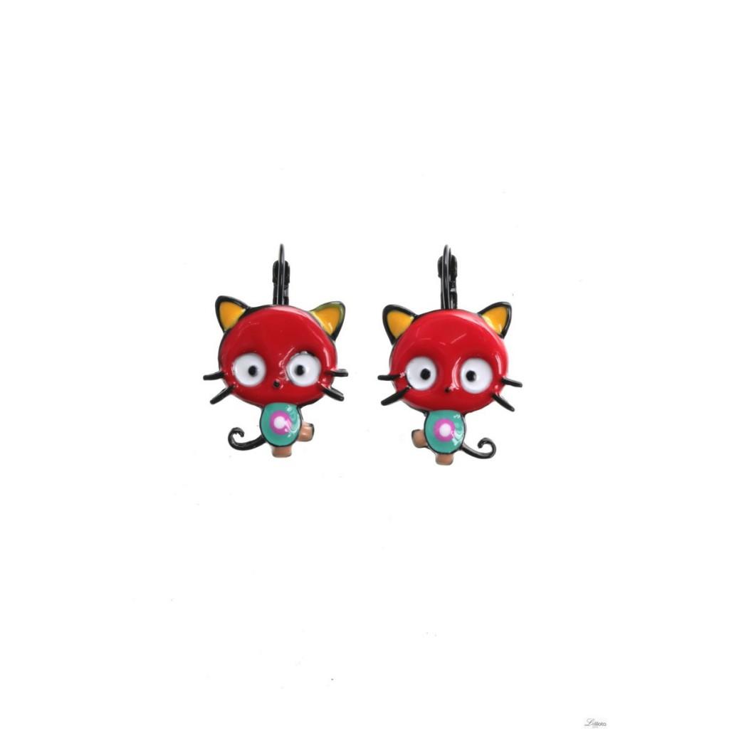 Boucles d\'oreilles Kitty rouge Lol Bijoux