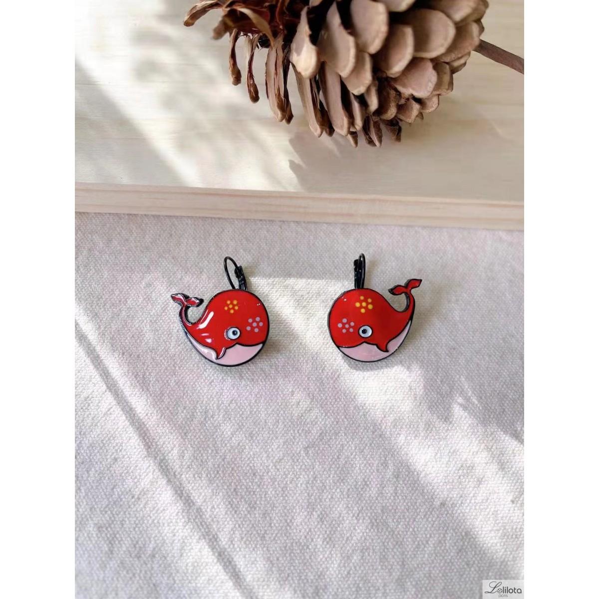 Boucles d\'oreilles Lol Bijoux baleine rouge