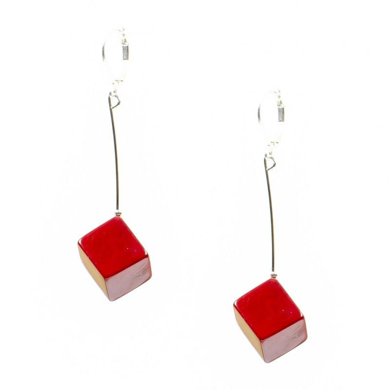 Boucles d\'oreilles Nodova, en ivoire végétal, Naa rouge