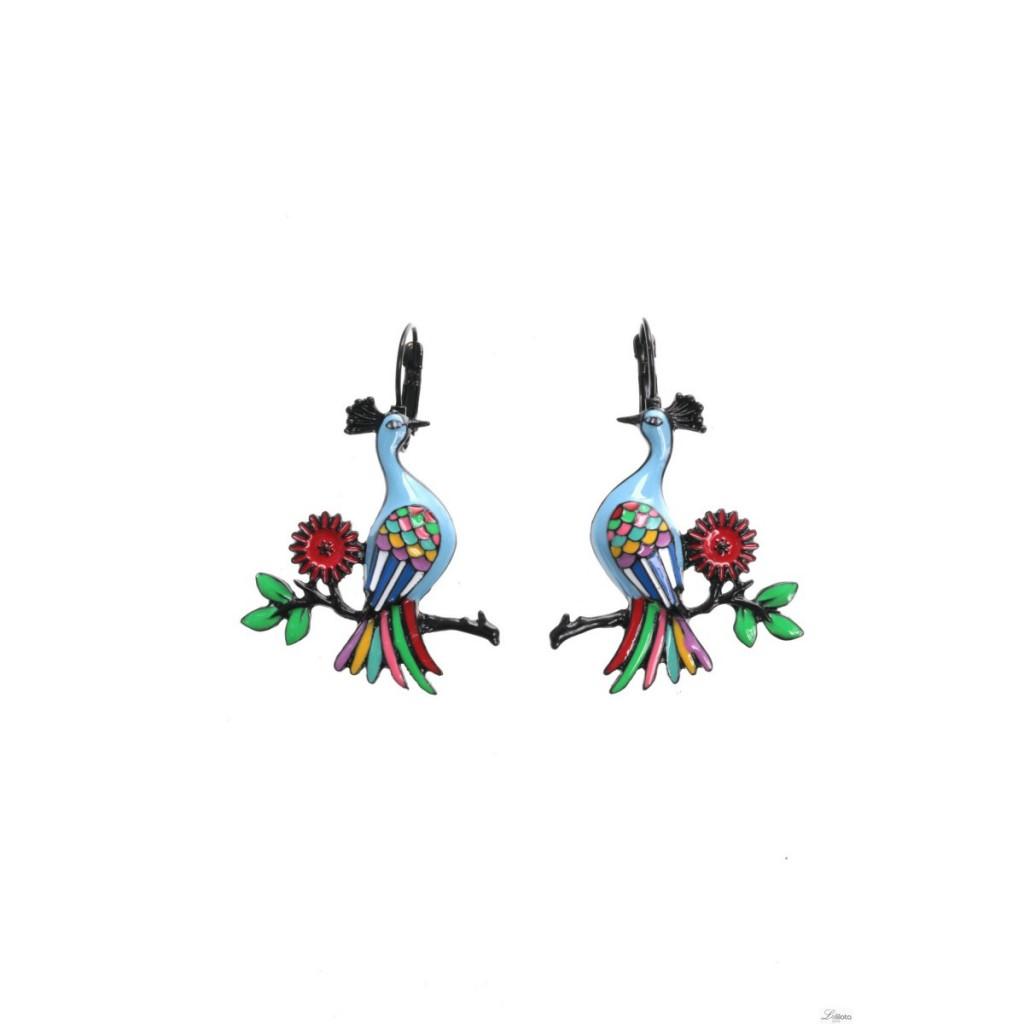 Boucles d\'oreilles Paon bleu sur branche Lol Bijoux