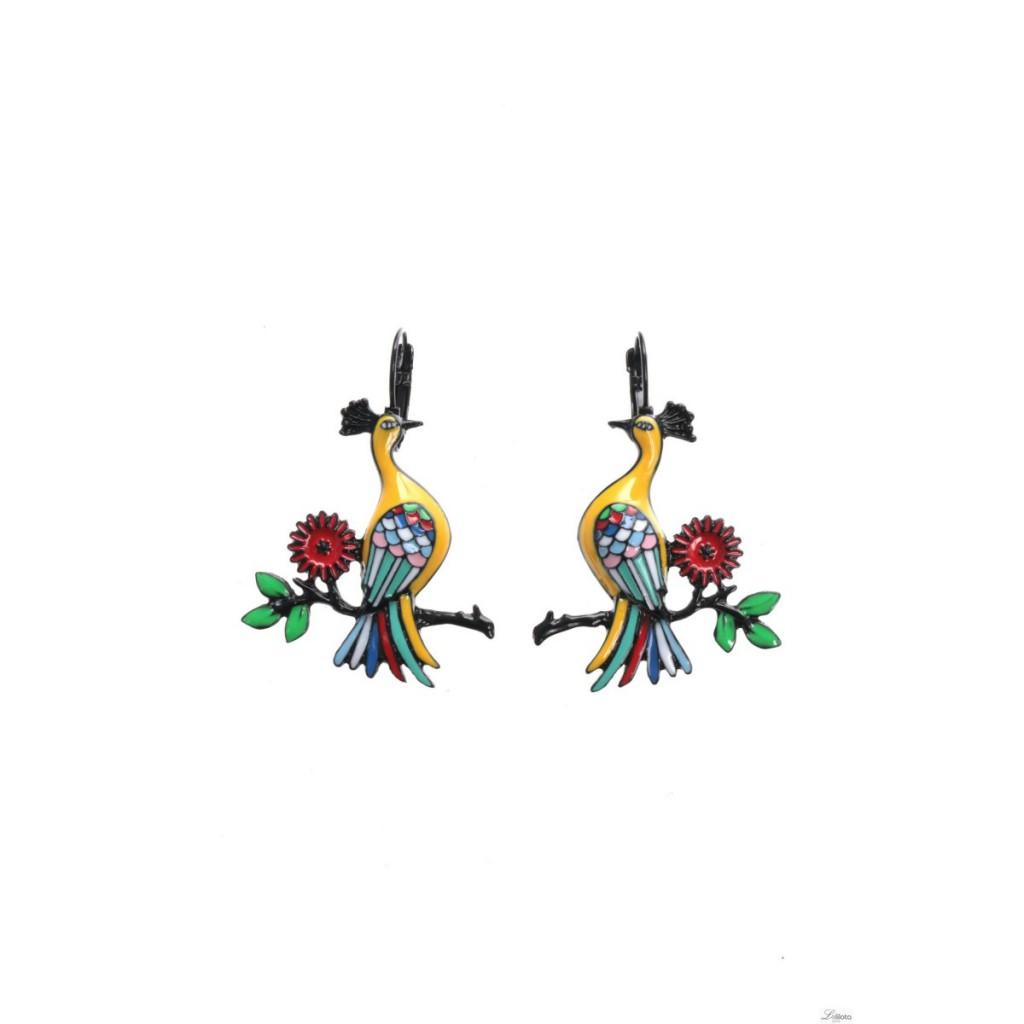 Boucles d\'oreilles Paon jaune sur branche Lol Bijoux