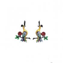 Boucles d'oreilles Paon jaune sur branche Lol Bijoux