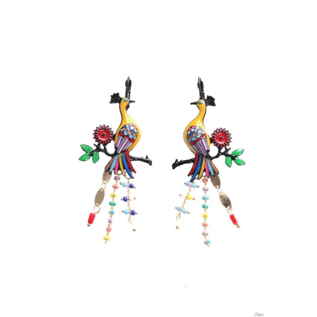 Boucles d\'oreilles Paon jaune sur branches avec chaînettes Lol Bijoux
