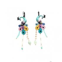 Boucles d\'oreilles paon turquoise