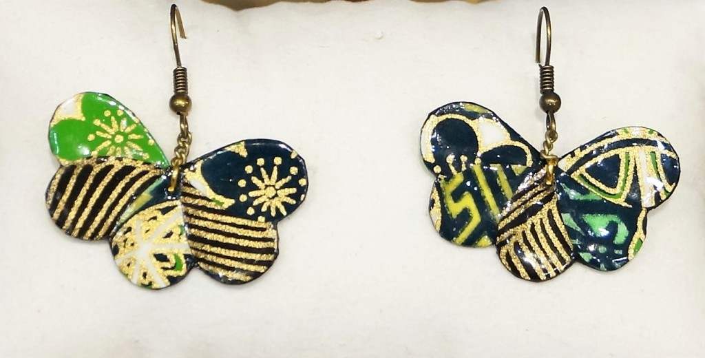 Boucles d\'oreilles Papillon verts en papier japonais Leksart