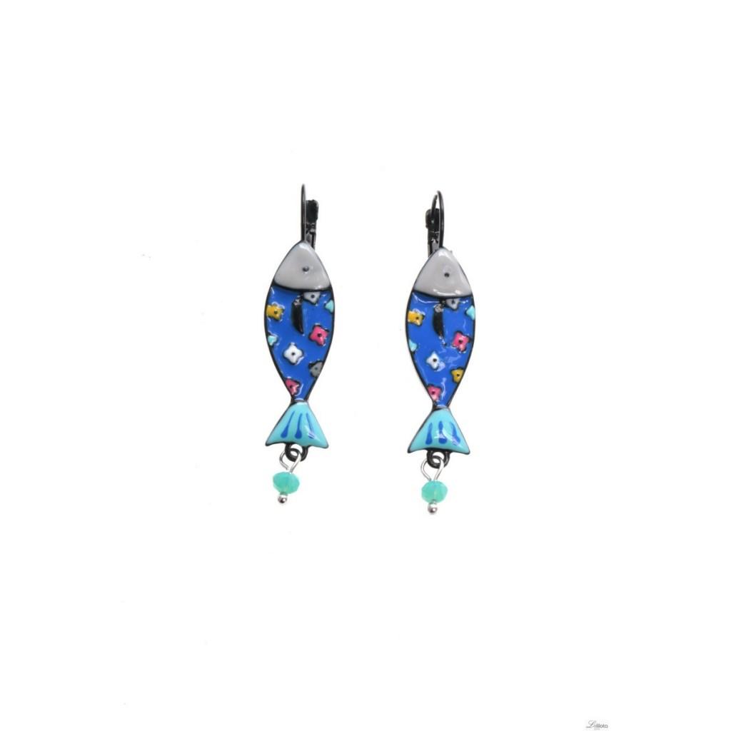 Boucles d\'oreilles sardine bleue Lol Bijoux