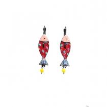 Boucles d\'oreilles sardine rouge Lol Bijoux