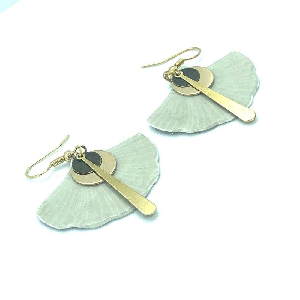Boucles d\'oreilles Zénitude en papier japonais  Leksart