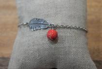 Bracelet argent perle rouge Elmalao