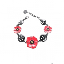 Bracelet coquelicot cercles noirs à pois Lol Bijoux