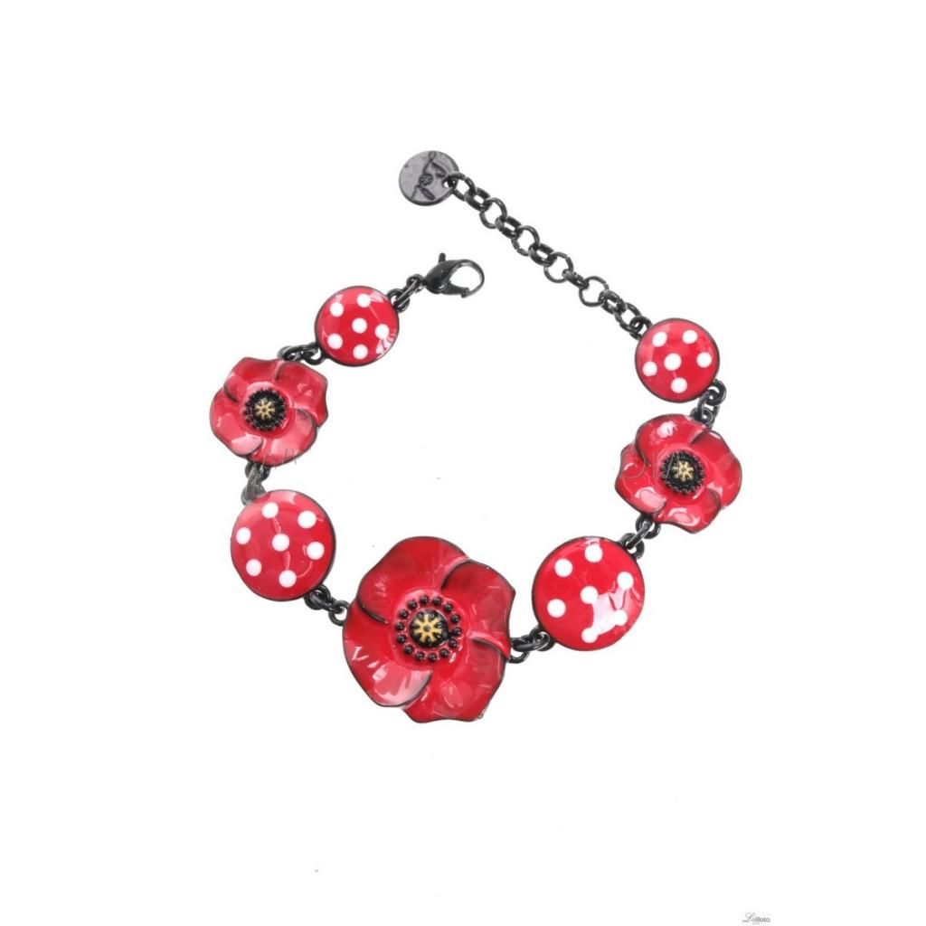 Bracelet coquelicot cercles rouges à pois Lol Bijoux