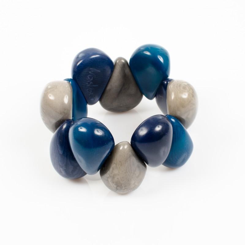 Bracelet élastique trois couleurs Nodova, Lagrima bleu