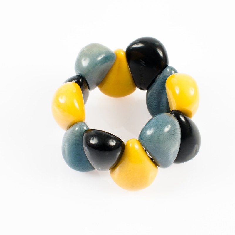 Bracelet élastique trois couleurs Nodova, Lagrima jaune