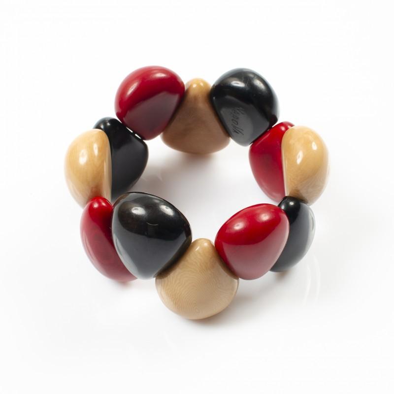 Bracelet élastique trois couleurs Nodova, Lagrima orange