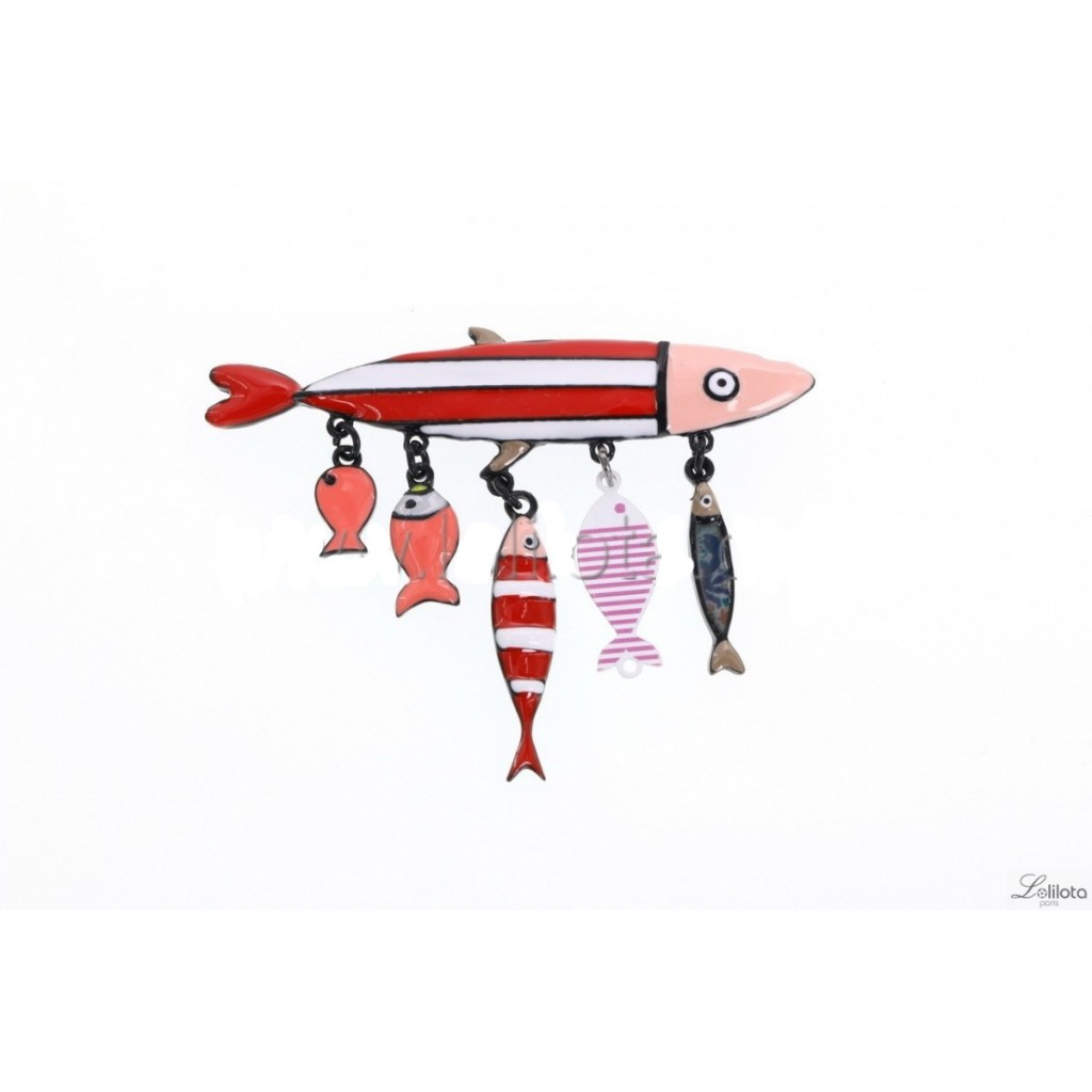 Broche famille sardines rouges Lol Bijoux