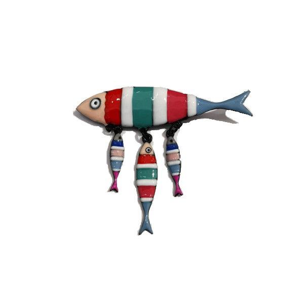 Broche fantaisie sardine colorée Lol Bijoux