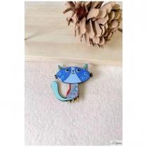 Broche Lol Bijoux, chat bleu