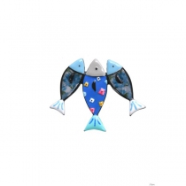 Broche sardine bleue à fleurs, Lol Bijoux