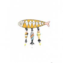 Broche sardine jaune Lol Bijoux