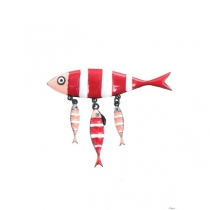 Broche sardine rouge Lol Bijoux