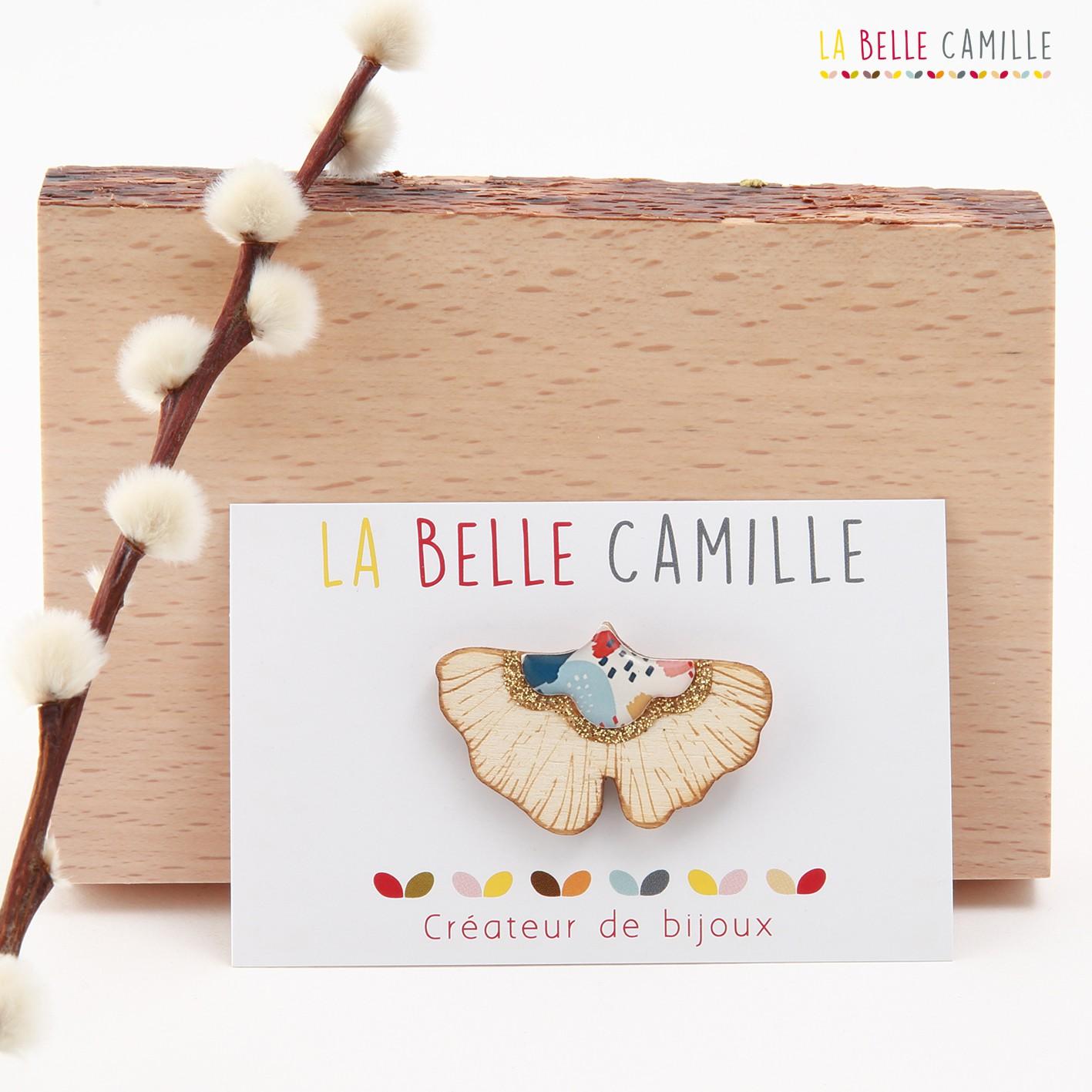Broche vintage La Belle Camille Ginkgo bois et or