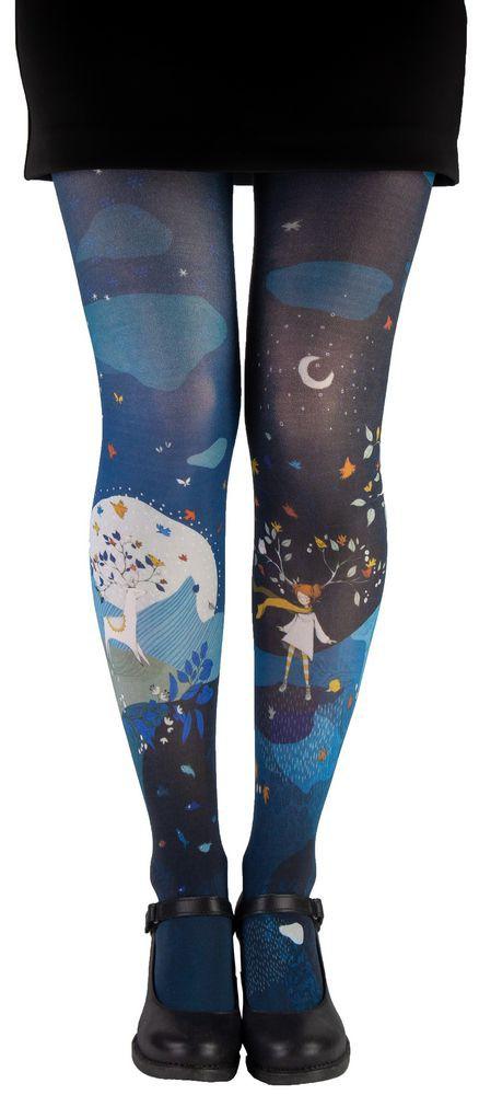 Collant fantaisie bleu et noir dessiné Lili Gambettes Artemis