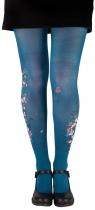 Collant fantaisie bleu pétrole fleuris corail Lili Gambettes June