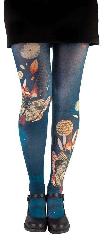 Collant fantaisie femme bleu poétique Lili Gambettes Papillons