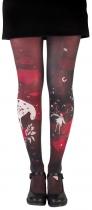 Collant fantaisie noir et rouge dessiné Lili Gambettes Artemis
