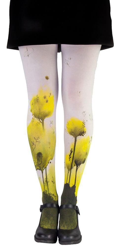 Collant fantaisie original Lili Gambettes Indigo jaune