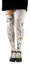 Collant Lili Gambettes très original à grandes fleurs fond gris Flower
