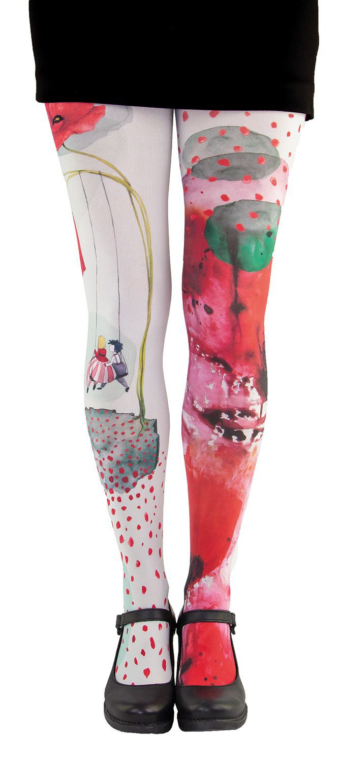 Collants artistiques Lili Gambettes, coquelicots beiges