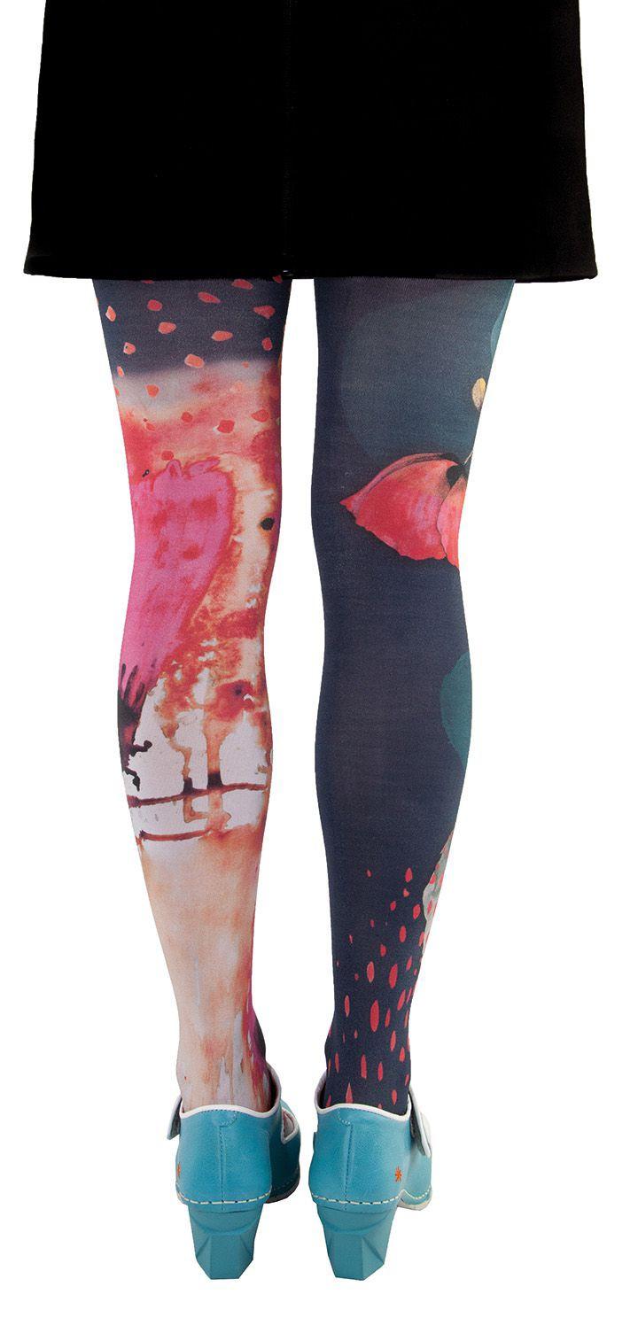 Collants artistiques Lili Gambettes, coquelicots marine