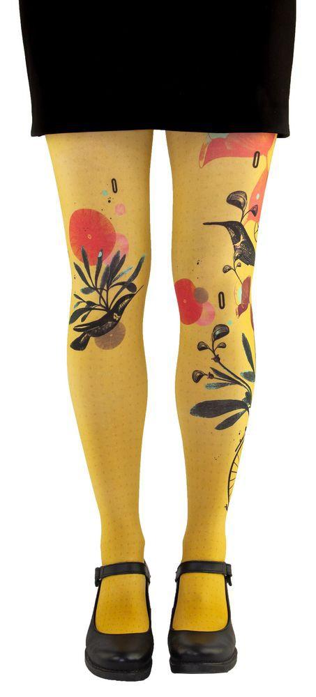 Collants colorés Lili Gambettes, thème Colibri jaune