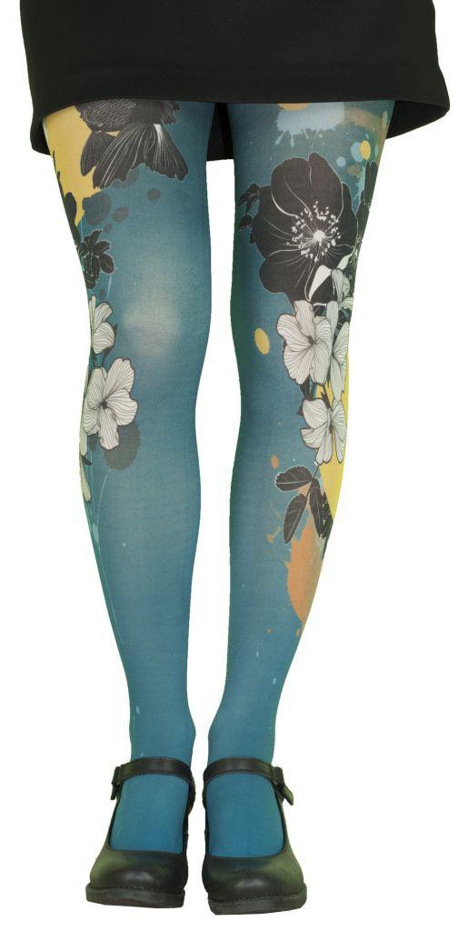 Collants fantaisie imprimés bleus thème Koï Lili Gambettes