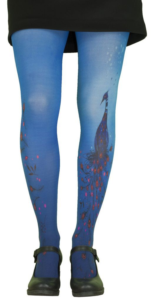 Collants fantaisie imprimés bleus thème Paon Lili Gambettes