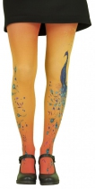 Collants fantaisie imprimés oranges thème Paon Lili Gambettes