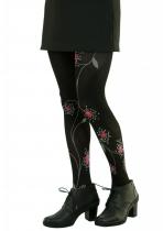 Collants fantaisie noirs fleurs LiliGambettes