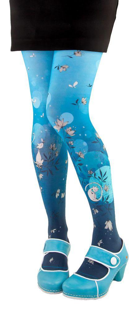 Collants imprimés Lili Gambettes, thème chat bleu