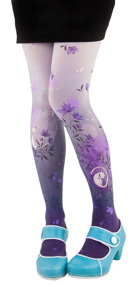 Collants imprimés Lili Gambettes, thème chat violet