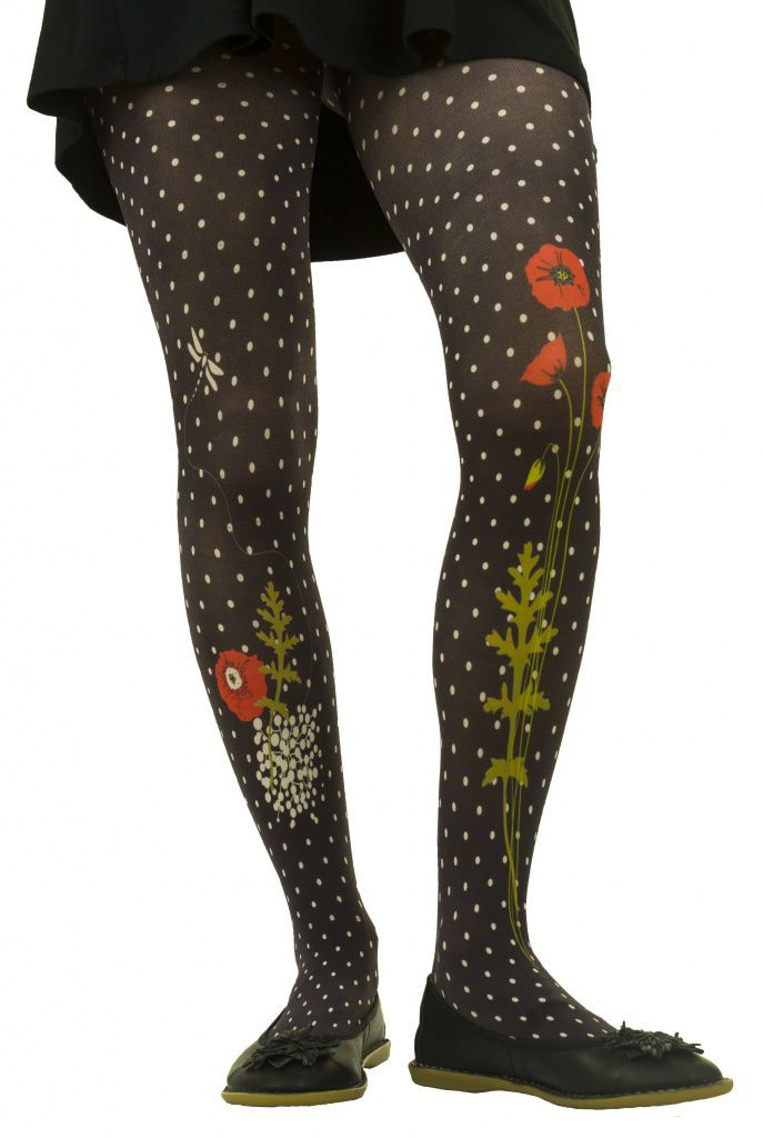 latest hot product special section Collants noir chic et original coquelicots Liligambettes