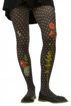 Collants imprimés Lili gambettes thème coquelicots noirs
