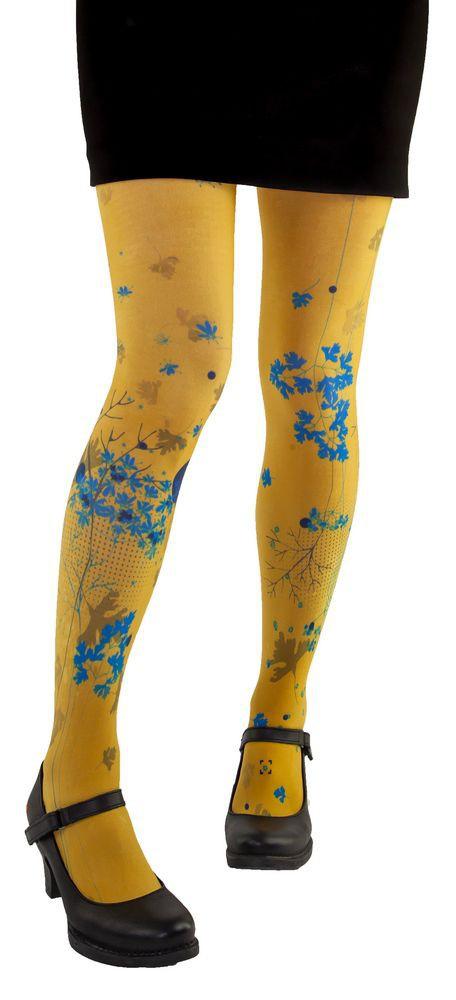 Collants jaunes et bleus Coriandre Lili Gambettes