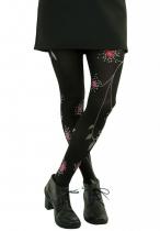 Collants noirs fleurs rouges et roses Lili Gambettes