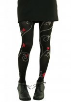 Collants noirs roses Secession Lili Gambettes