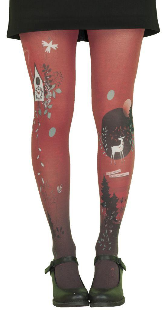 Collants originaux à motifs Coucou rouges Lili Gambettes