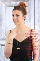 Collier femme vintage La Belle Camille Ginkgo bois et or