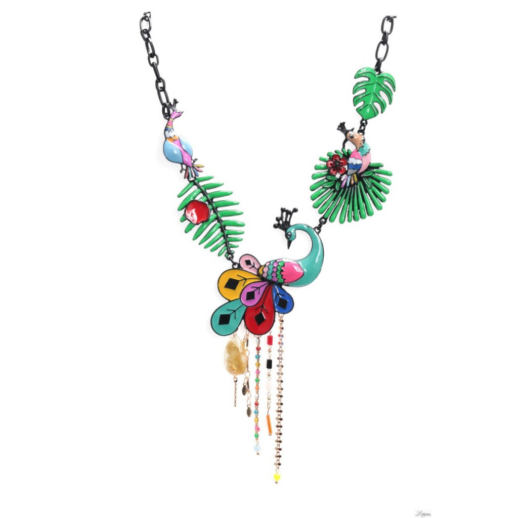 Collier Paon turquoise Lol Bijopux